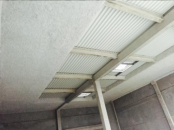 flocage coupe feu sous toiture, pare flamme 1/2h, 1h, 2h