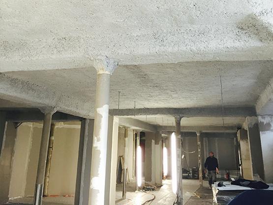 flocage coupe feu et acoustique sur plafond
